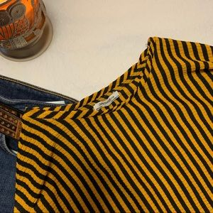 Zara Striped Extra Long Ruched Sleeve Top